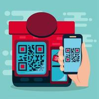 restaurang använder qr-kod för kontantlös betalningsillustration vektor