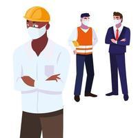 Industrieunternehmen, die bei der Arbeit Gesichtsmasken tragen