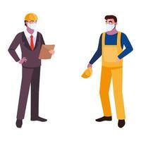Männer Bediener und Führungskräfte mit Masken und Helmen