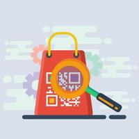 shopping skanna qr-kod koncept illustration