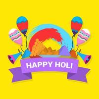 Flache glückliche Holi-Vektor-Illustration