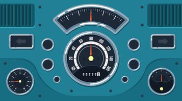 Vintage Bil Dashboard UI Gratis Vector