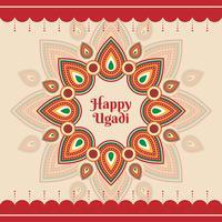 Glückliche Ugadi-Schablonen-Gruß-Karte für Feiertag