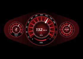 Bil Dashboard UI Röd Vektor