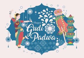 Glücklicher Gudi Padwa Vektor