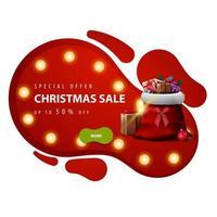 Sonderangebot, Weihnachtsverkauf, bis zu 50 Rabatt, rotes Rabatt-Banner im Lavalampenstil mit gelber Glühbirne, grünem Knopf und Weihnachtsmann-Tasche mit Geschenken auf weißem Hintergrund vektor