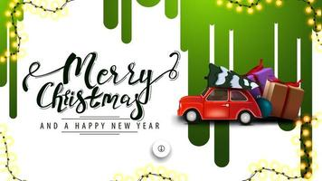 Frohe Weihnachten und ein gutes neues Jahr, weißes Rabattbanner mit grünen Farbstreifen auf der weißen Wand und rotem Oldtimer, der Weihnachtsbaum trägt vektor