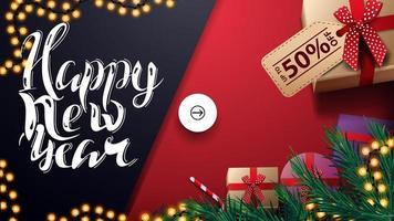 gott nytt år, upp till 50 rabatt, röd och blå rabatt och hälsningsbanner med presenter, ovanifrån vektor
