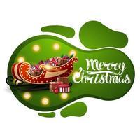 Frohe Weihnachten, grüne Postkarte im Lavalampenstil mit gelber Glühbirne und Weihnachtsmannschlitten mit Geschenken lokalisiert auf weißem Hintergrund vektor