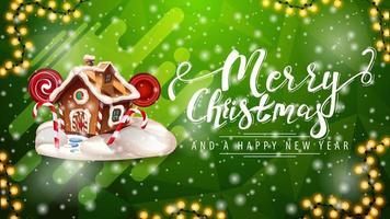 Frohe Weihnachten und ein gutes neues Jahr, grüne Postkarte mit Girlande, Schneefall und Weihnachtslebkuchenhaus