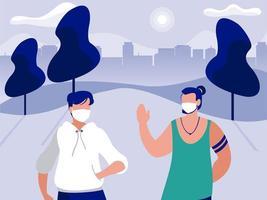 Männer mit Masken am Park vor dem Vektorentwurf der Stadtgebäude
