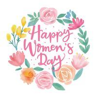 Glad kvinna dag blomma vatten färg vektor