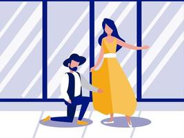 paar Leute tanzen zu Hause Vektor-Illustration Design vektor