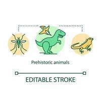 förhistoriska djur koncept ikon. forntida reptiler och insekter. vektor