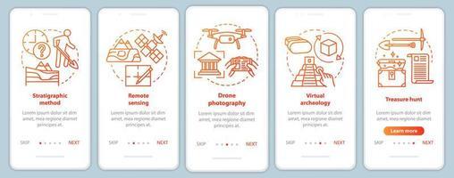 Archäologische Methoden Onboarding Mobile App Seite Bildschirm Vektor-Vorlage. vektor