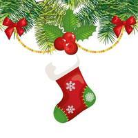 Socke hängt mit Dekoration Weihnachten