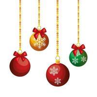 Bälle Weihnachten hängende Dekoration isolierte Ikone