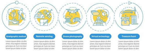 archäologische Methoden Vektor Infografik Vorlage. Designelemente für die Präsentation der Schatzsuche.
