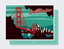 San Francisco Postkarte Vektor