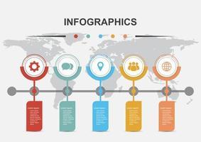 Timelines Infografik Design-Vorlage mit 5 Bannern vektor