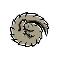 Pangolin schuppiger Ameisenbär Curled Maskottchen vektor