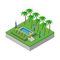 isometrisches Schwimmbad auf weißem Hintergrund dargestellt vektor