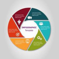 Infografik Kreis Design-Vorlage mit 6 Schritten vektor