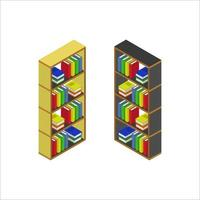 illustrerad isometrisk bokhylla på vit bakgrund vektor