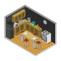 isometrisk köksrum på vit bakgrund vektor