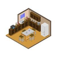 isometrisches Küchenzimmer auf weißem Hintergrund