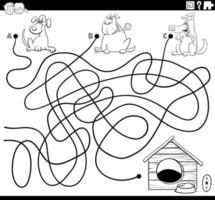 labyrint med hundar och hundhus målarbok sida vektor