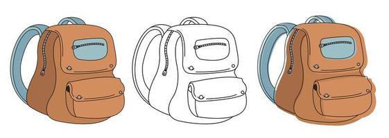 Schultasche in 3 verschiedenen Ausführungen vektor
