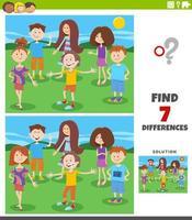 Unterschiede Lernspiel mit Cartoon-Kindern vektor
