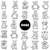 svartvita tecknade hundkaraktärer känslor stor uppsättning vektor