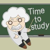 gammal professor pekar på svarta tavlan vektor