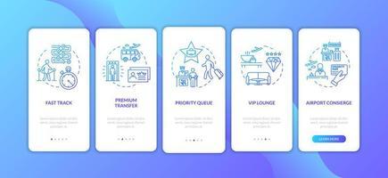 Flughafen Premium Service Onboarding Mobile App Seite Bildschirm mit Konzepten.