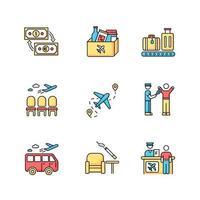 flygplats terminal rgb färg ikoner set. väntande lobby för passagerare. flygkontroll. metalldetektering med skanner. rökområde. helpdesk för resenär. ankomst avgång. isolerade vektorillustrationer