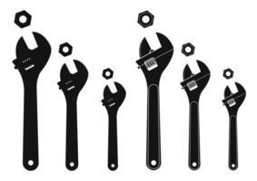 Satz mechanischer Schraubenschlüssel mit Muttern. Silhouetten vektor