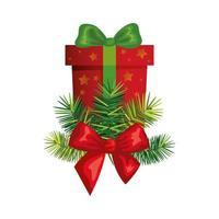 Geschenkbox Weihnachten isoliert Ikone vektor