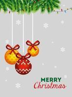 Frohe Weihnachten Plakat mit dekorativen Kugeln hängen