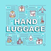handbagage word koncept banner. reselätt, turism utan extra bagage. infographics med linjära ikoner på turkos bakgrund. isolerad typografi. vektor disposition rgb färgillustration