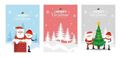 Set Poster von frohen Weihnachten und Dekoration vektor