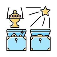 gåvor av den magi blå färgikonen. baby jesus gåvor från tre magiska kungar. vektor