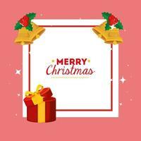 god julkort med presentask och dekoration vektor