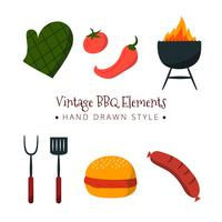 Handdragen BBQ Elements Collection vektor
