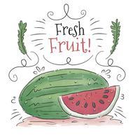 Akvarell vattenmelon med löv och ornament vektor