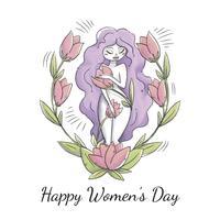 Gullig kvinna karaktär med lila långt hår, löv och blommor till kvinnodagen