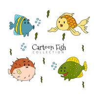 tecknad fisk samling vektor