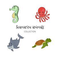 tecknad hav djur samling vektor