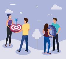 möte med affärsmän med mål och redskap